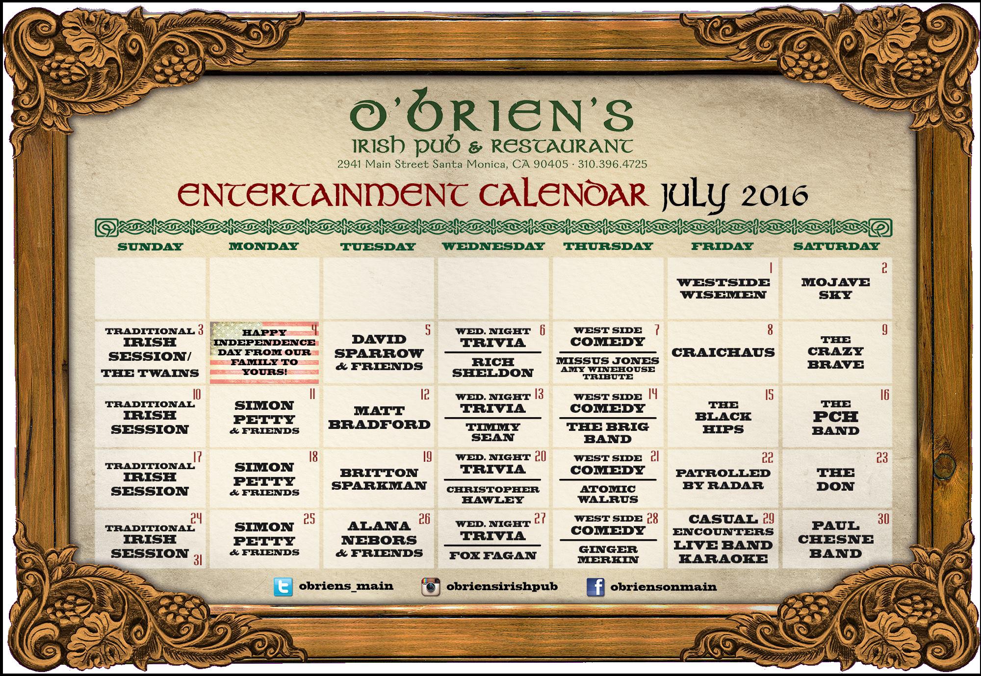 Live Music and Events at O'Briens Irish Pub on Main St Santa Monica LA for July 2016